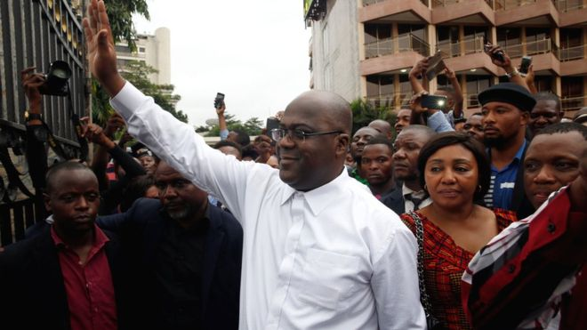 Felix Tshisekedi waving after he was announced as winner of the elections in Kinshasa