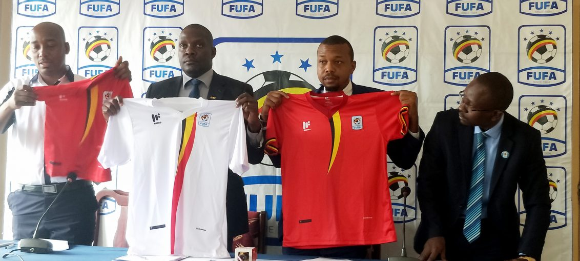 Original Uganda Cranes Jerseys displayed before the media during the FUFA Weekly Press Conference on Wednesday Morning (Photo by FUFA Media)