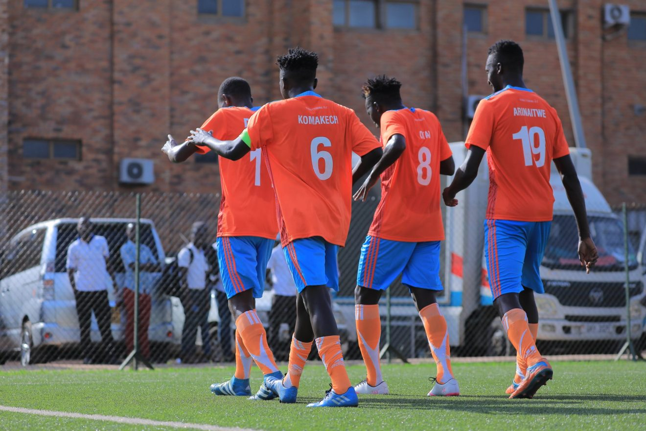 Some of the Nyamityobora players celebrating one of their goals against Police on Tuesday (Photo by Agency)