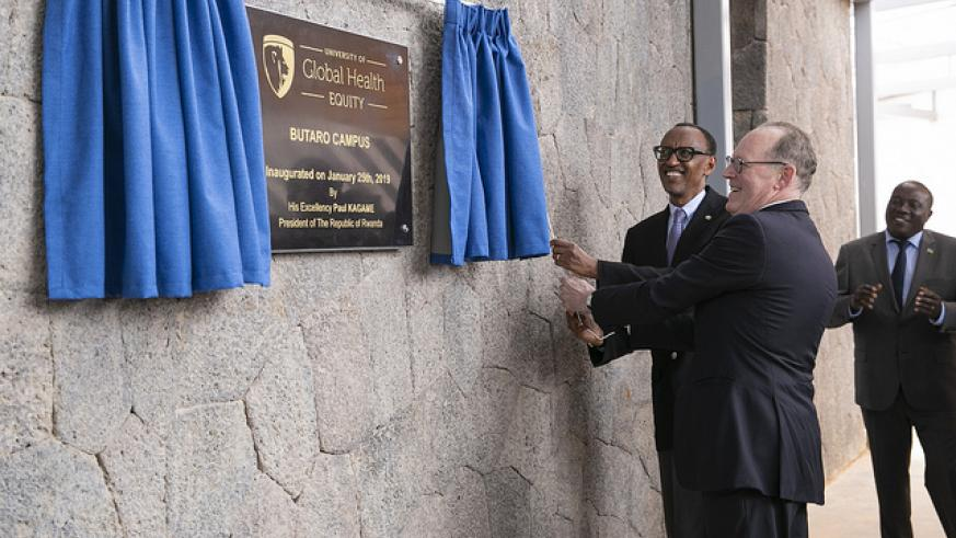 President Kagame and Dr Paul Farmer (R), the co-founder and Chief Strategist of Partners In Health (Inshuti mu Buzima) inaugurate the Butaro campus in Burera District on Friday. The new campus is home to the University of Global Health Equity (UGHE). Urugwiro Village.