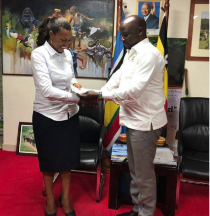 Minister Kiwanda Suubi and the newly appointed CEO UTBM, Lilly Ajora