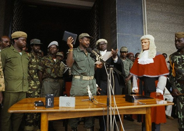 President Museveni swears in as president at the door steps of Parliament in 1986. (FILE PHOTO)