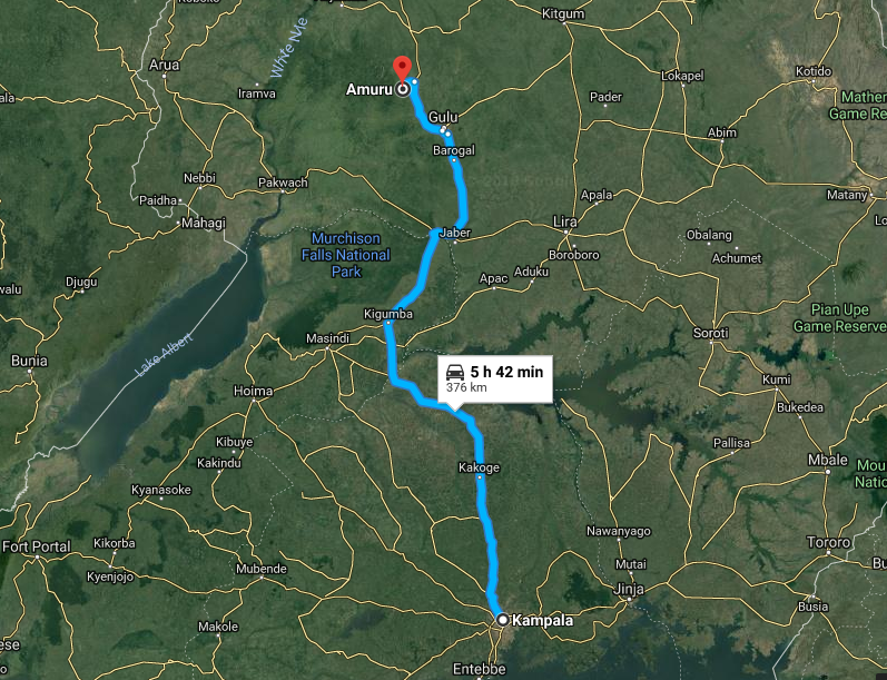 PML Daily satellite photo showing the distance and location of Amuru district from Kampala