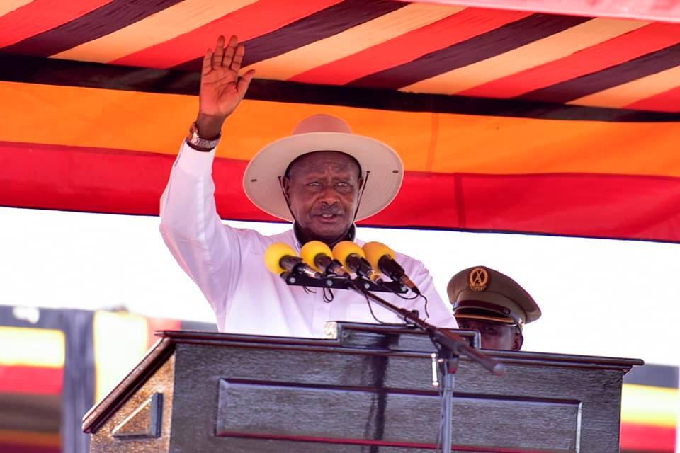 President Museveni addresses the public at the Liberation Day Celebration at Nabuyoga Playground, Tororo on Saturday January 26 (PPU PHOTO)