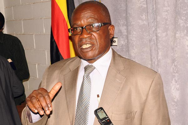 Public Service minister Muruli Mukasa addresses the press in Kampala on Monda