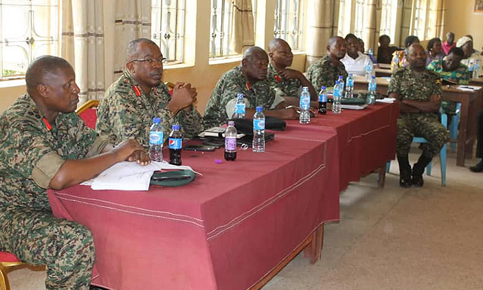 UPDF officers in a meeting with district leaders
