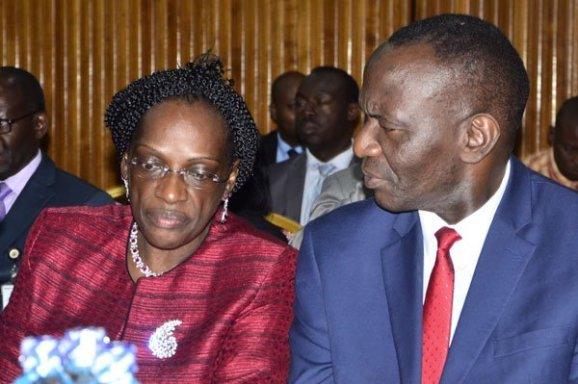 Former BoU Director of Supervision, Ms Justine Bagyenda and  Director for Financial Markets Development Coordination, Benedict Ssekabira (R). The embatlled BoU boss has admitted taking documents out of the Central Bank facility (PML Daily PHOTO)