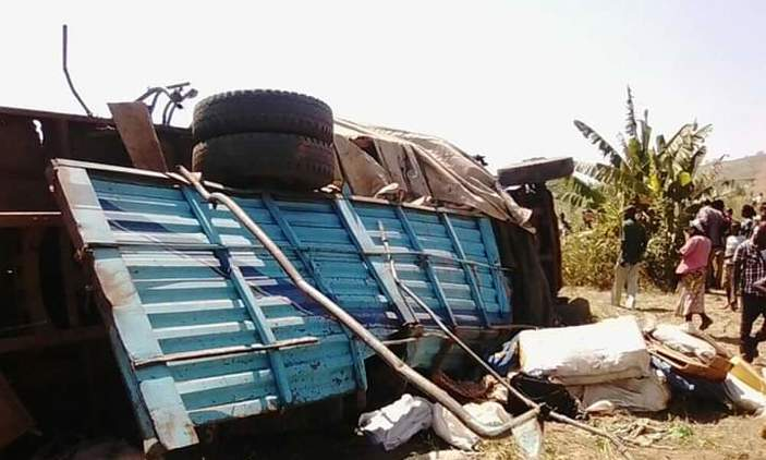 Fuso truck overturned in