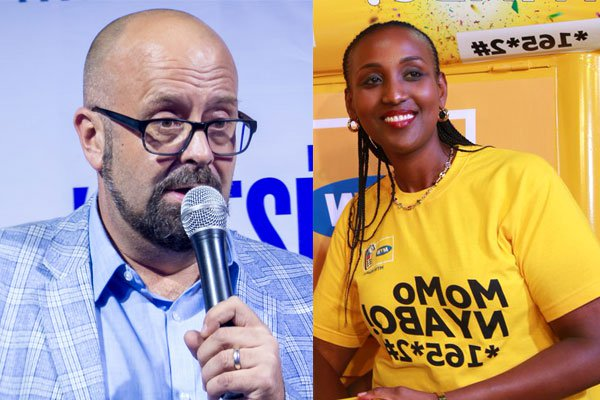 French national Mr Olivier Prentout, and Rwandan Annie Tabura are among top executives in MTN Uganda that were deported (PHOTO MONTAGE)