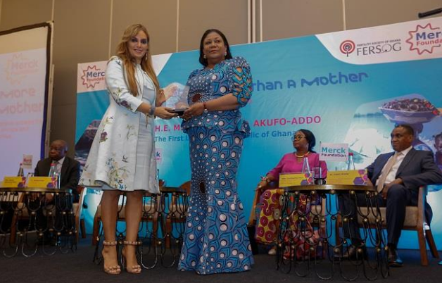 Dr. Rasha Kelej, CEO of Merck Foundation and President, Merck More Than a Mother with H.E. Rebecca Akufo-Addo, First Lady of the Republic of Ghana and