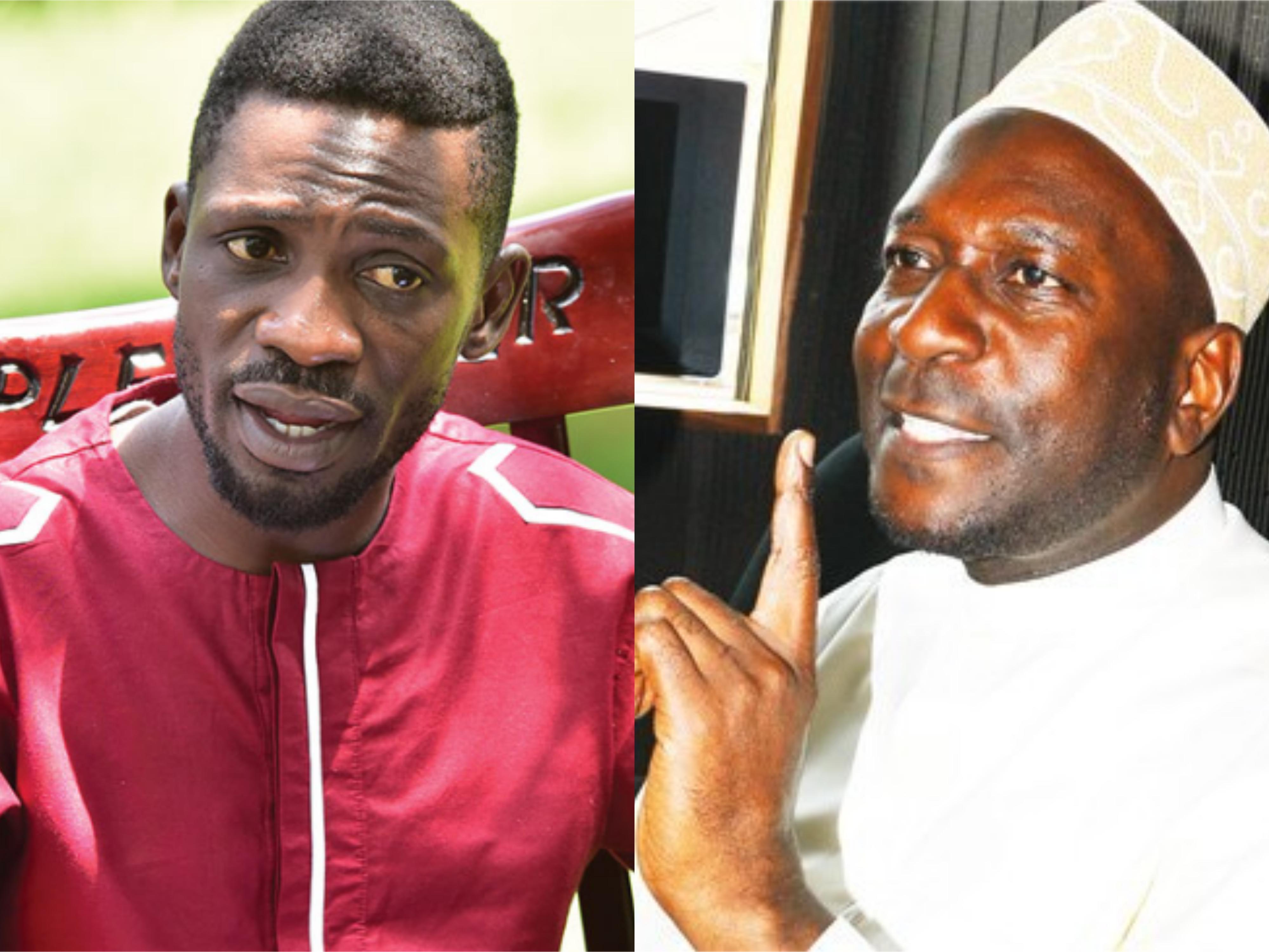 Sheikh Nuhu Muzaata (R) applauded Bobi Wine for his song 'Tuliyambala Engule'. (FILE PHOTO)