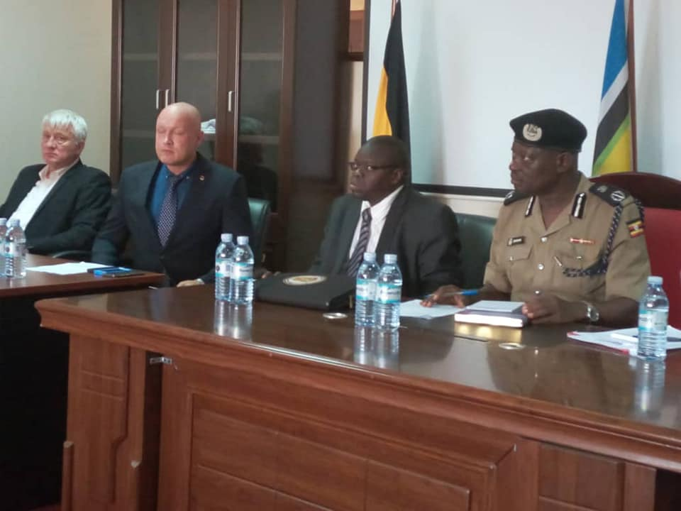 CID deputy director Senior Commissioner Joseph Obwana is joined by other officials at the launch of the two-week long training of Ugandan & Kenyan Police officers on handling drug-related cases (POLICE PHOTO)