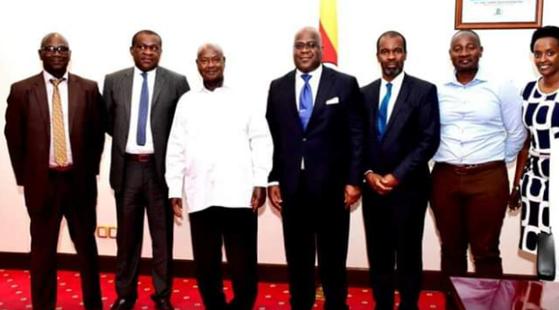 Museveni meeting with Tshisekedi and his delegation from DRC at State House Entebbe late last year