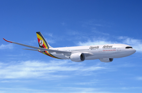 Uganda Airlines' first of four bombardier CRJ-900(CRJ9) planes takes to the skies for the first time in Montreal. (FILE PHOTO)