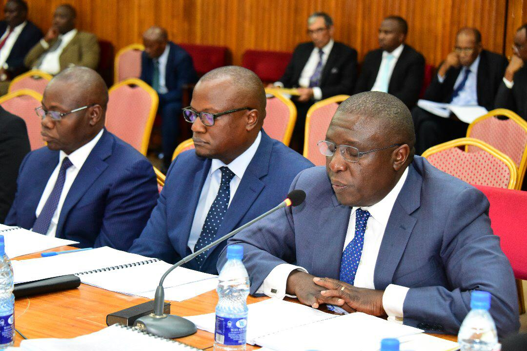 DFCU Bank officias, Current MD, Katamba and former MD Juma Kisaame at the Bank of Uganda Probe (PML Daily PHOTO)