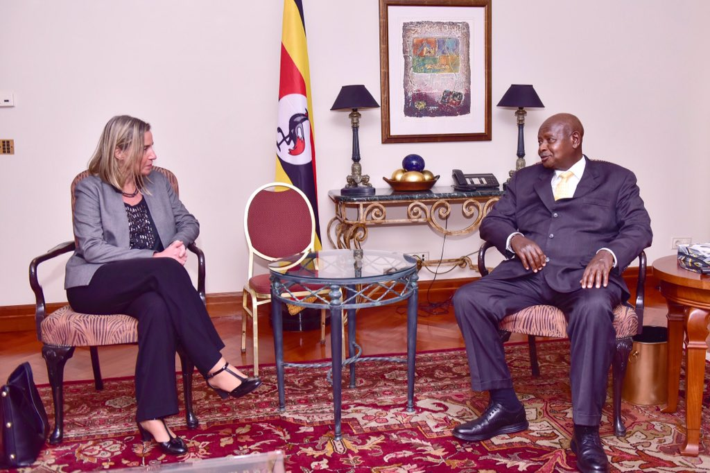 President Kaguta Museveni met the EUCouncil High Representative for Foreign Affairs and Security Policy Ms Federica Mogherini, at the sidelines of the African Union Heads of State summit in Addis Ababa, Ethiopia Saturday February 09 (PPU PHOTO)
