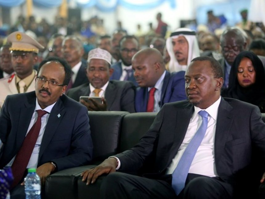 President Uhuru Kenyatta with his Somali Counterpart Mohamed Abdullahi Farmaajo, during his inauguration ceremony in Mogadishu, Somalia. (AGENCIES PHOTO)