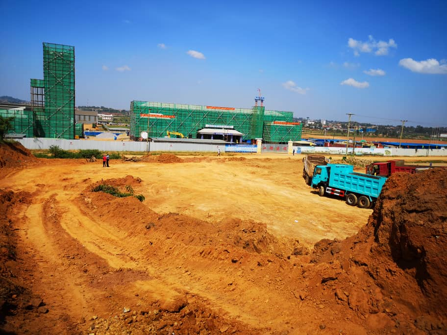 The construction work going  on in Namanve industrial Park.( Mutalyebwa Abraham)