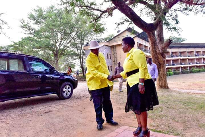 President Museveni is welcomed by NRM SG Kasule Lumumba.  NRM Central Executive Committee (CEC) has endorsed  President Museveni's sole candidature in 2021 (PPU PHOTO)