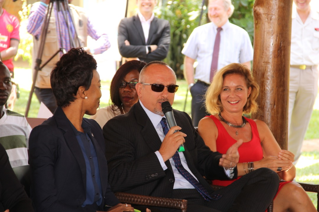 His Excellency Domineco Fornara Italian Ambassador to Uganda at the extreme right and his wife addressing the press on Monday 25 in Kampala. (PHOTO BY ABRAHAM MUTALYEBWA)