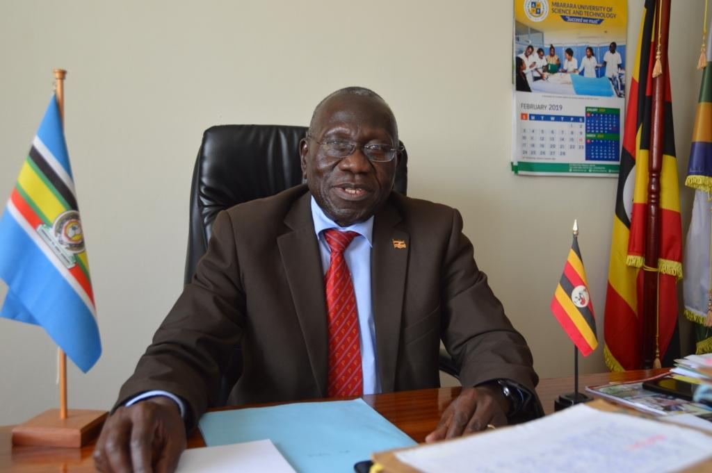 MUST's VC Prof. Obua Celestine in his office