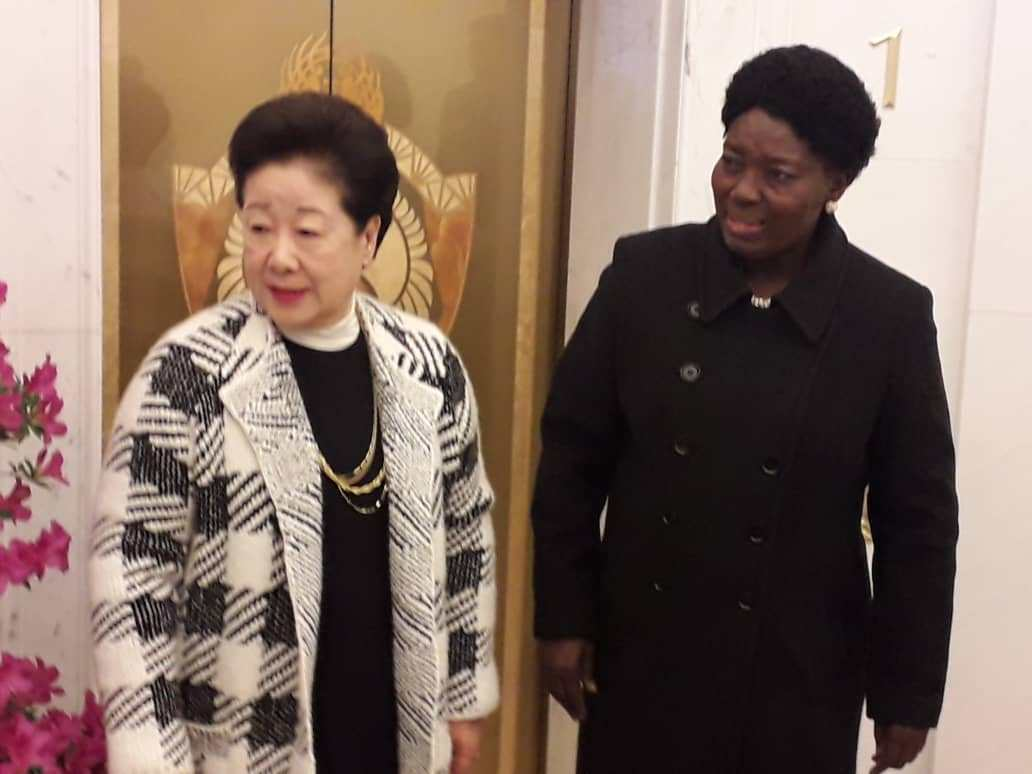 Speaker Kadaga with he leader of the Universal Peace Federation HakJa Han Moon in Seoul, South Korea.