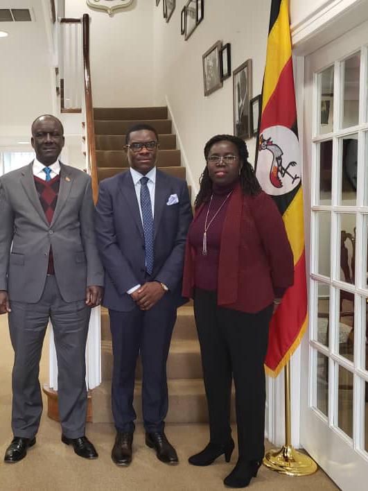 Jack Pemba,CEO Pemba group of companies (C)with Ssebujja Katende (L) Uganda's Ambassador to USA and Deputy Ambassador Santa  Mary Laker Kinyera. Courtesy photo.