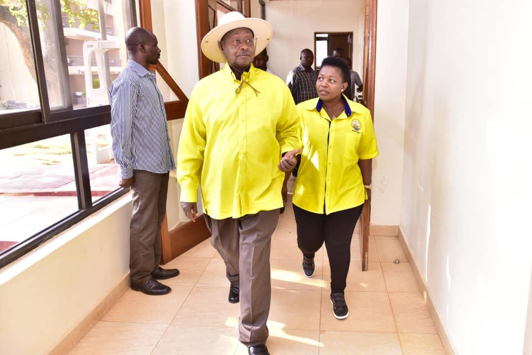 President Yoweri Museveni and NRM Secretary General Kasule Lumumba at Chobe Lodge in Nwoya District recently (PHOTO/File)