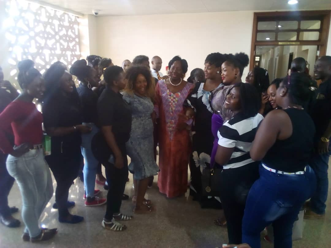 Speaker Kadaga in a group photo with the Miss Curvy organisers and some of the contestants at Parliament on Wednesday afternoon. (PHOTO BY SARAH KIBISI)