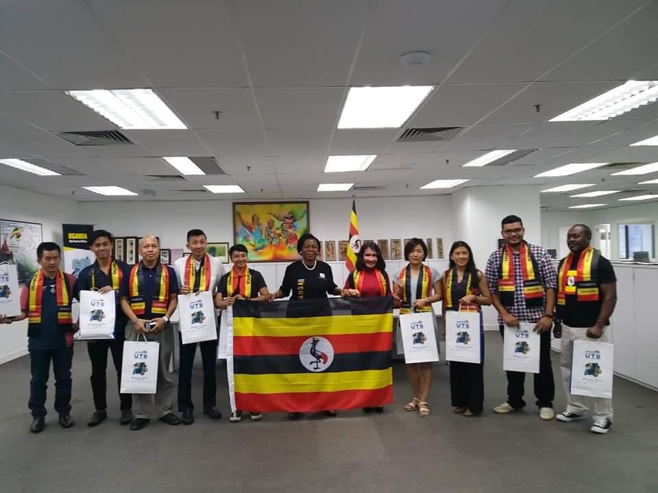 High Commissioner of the Republic of Uganda Dorothy Samali Hyuha flagged off Representatives of ten Malaysian Tour and Travel Agents on a familiarization trip to Uganda. (UMC PHOTO)