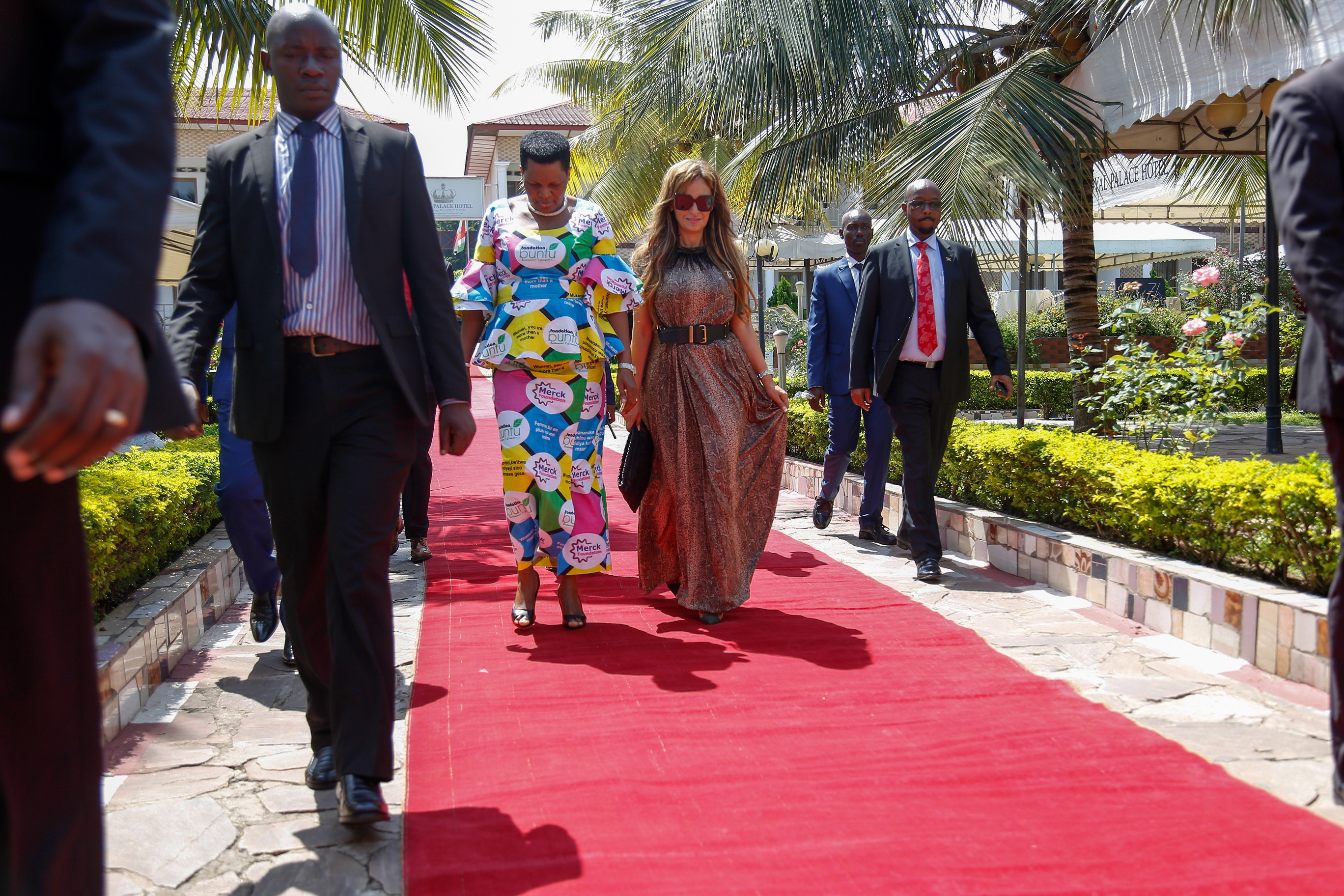 Dr. Rasha Kelej, CEO of Merck Foundation and President, Merck More Than a Mother with H.E. MADAM DENISE NKURUNZIZA, The First Lady of Burundi and Ambassador, Merck More Than a Mother arriving for the Health Media Training