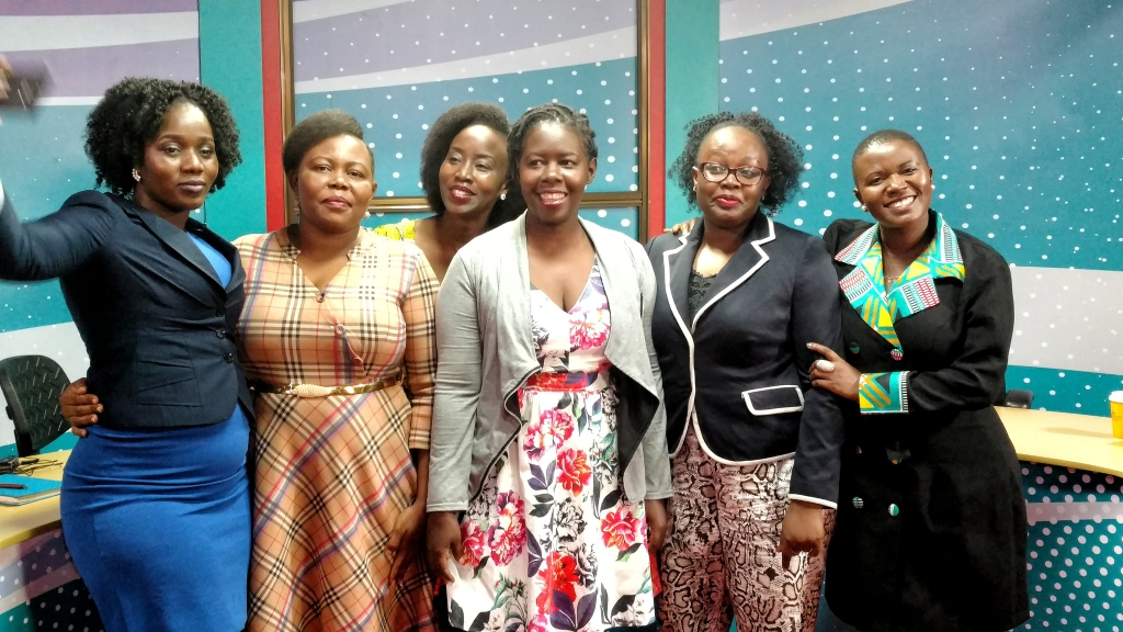 Female journalist share a group photo after a discussion on Women's day at NBS. (COURTESY PHOTO)