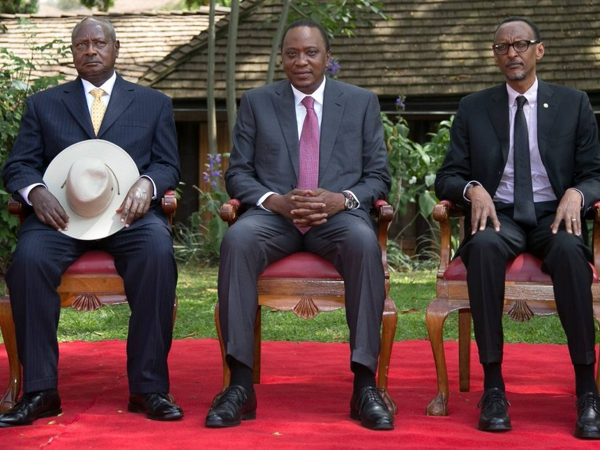 Kenya president Uhuru Kenyatta on Monday met his counteparts, Rwanda's Paul Kagame and Uganda' Yoweri Museveni on Monday March 11 (FILE PHOTO)
