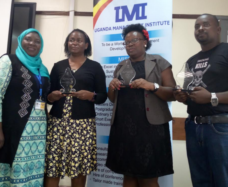 Award winners from Uganda pose with official from Ministry of Health (Left ), Uganda Management iInstitute  Of Quality Assurance , Joyce Bagala NBS TV and Cinema Magic representative