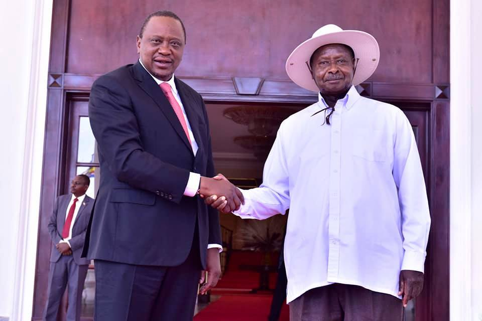 Presidents Yoweri Museveni and Uhuru Kenyatta met at State House in Entebbe on Monday. (PPU PHOTO)