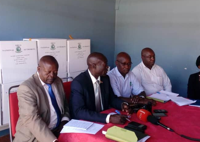 Public Relations Officer National Drug Authority ( NDA ) Frederick Ssekyana (Middle ) with RDC Soroti and Deputy RDC of Bukedea and other officials addressing the Press conference in Soroti.