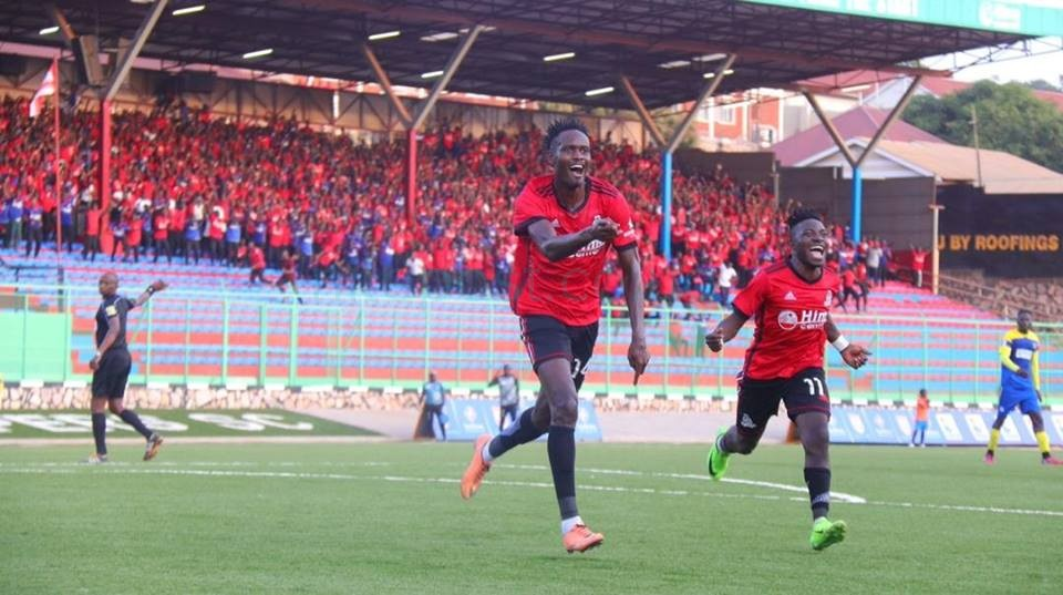 Kasirye (14) celebrates after scoring the winner against Ndejje in the first round