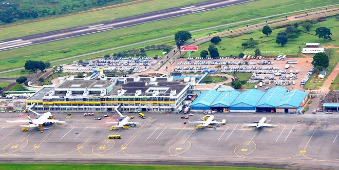 An aerial view of Entebbe International Airport
