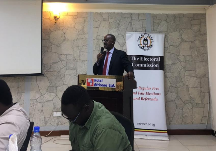 Mr. Rwakoojo addresses Online Media Editors at Hotel Africana on Tuesday (PHOTO COURTESY OF TWITTER)