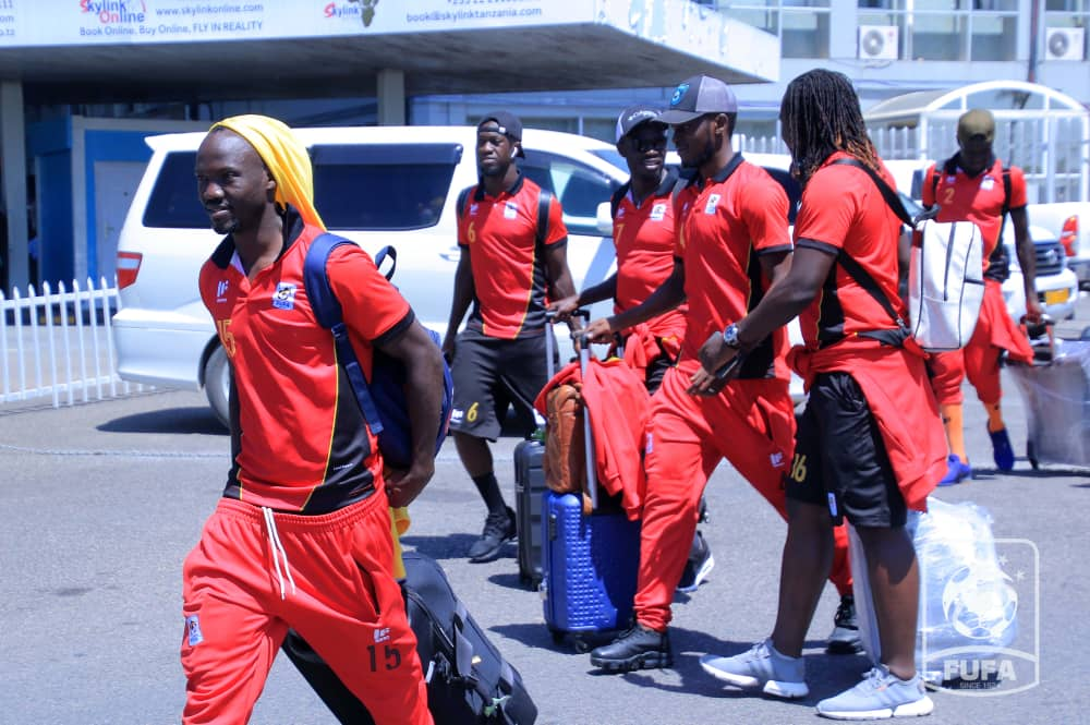 The Cranes arriving at the Julius Nyerere International Airport on Saturday aftrnoo (Photos by FUFA Media)
