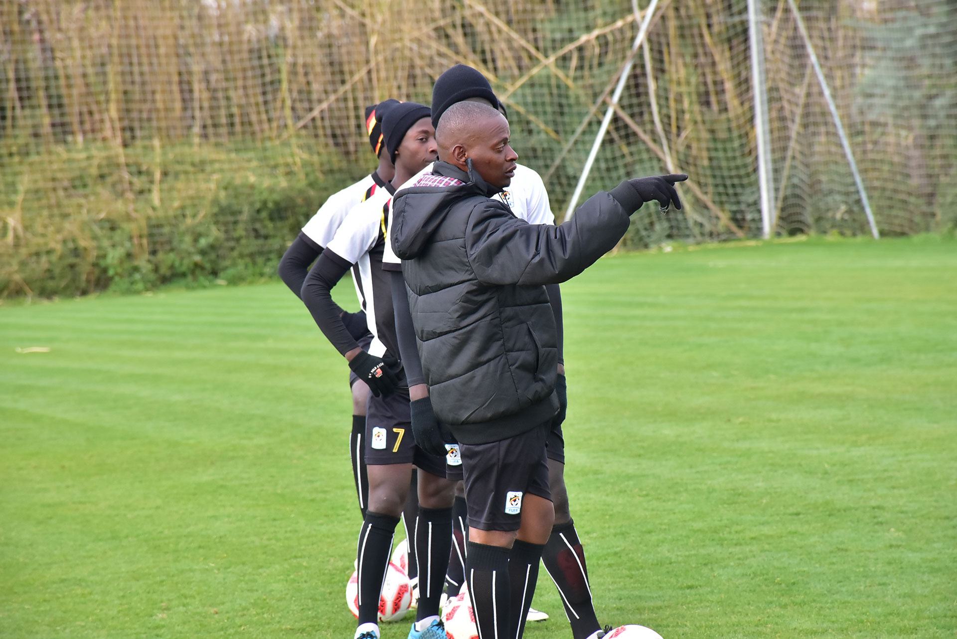 Magera (in Black-Jacket) taking the players through a training session in Ankara (file photo)