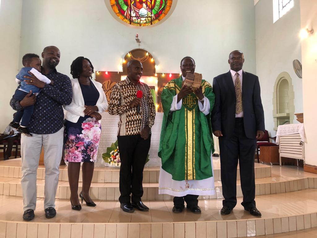 H.E Caesar Mulenga (R), flanked by AMDA Chairman Dr Gaston Ampe and his wife and Ruhinda North MP Mr. Thomas Tayebwa at St. Augustine Chapel, Makerere University On Sunday, March 3 (PML Daily PHOTO)