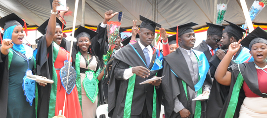 Kampala University  Graduands celebrate their milestone in education. Over 180 Rwandan graduands at the private institution are set to miss the forthcoming graduation as the tension between Uganda and Rwanda remains unclear (FILE PHOTO)
