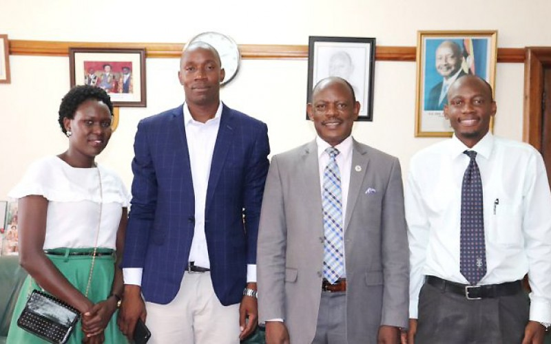 The Vice Chancellor, Prof. Barnabas Nawangwe (2nd Right) with MakSPH Lecturer-Dr. David Musoke (Right) and other members of the 3rd IFEH and 16th MUEHSA Conference organising committee during the courtesy call on 15th March 2019, Makerere University.