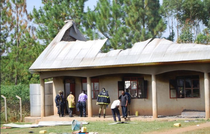 A fire gutted a dormitry at St James Katente Secondary School in Kiyuni sub county, Mubende district in the wee hours of Wednesday (PML Daily PHOTO)