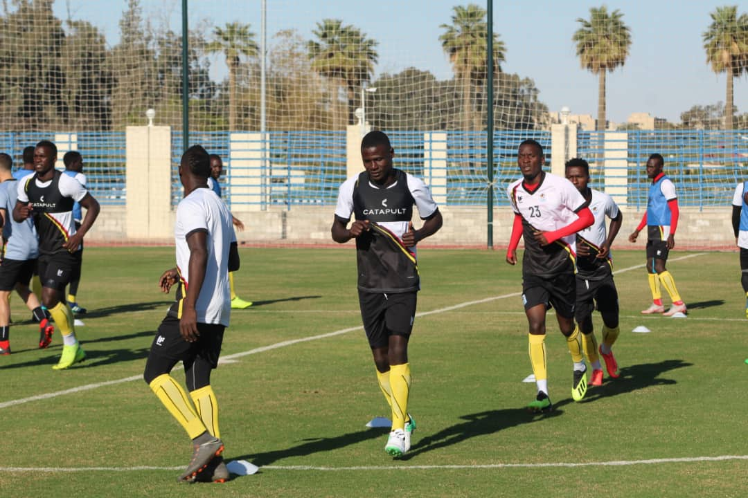 The Uganda Cranes conducted their first training in Egypt, on Tuesday.