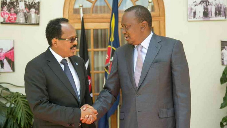 President Uhuru Kenyatta with Somali President Mohamed Farmaajo during a past meeting in Nairobi