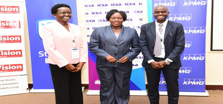 Speaker Rt. Hon. Rebecca Kadaga together with Ms. Jane okot chairperson ICSA and Mr Asad lukwago of KPMG at the 8th annual directors and company secretaries conference at protea hotel, Kampala on March 12 2019 (PARLIAMENT PHOTO)