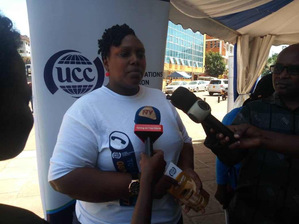 Ms. Pamela Ankunda, Manager consumer affairs department at UCC speaks to the media at Communications House recently (PHOTO/ JAVIRA SSEBWAMI)