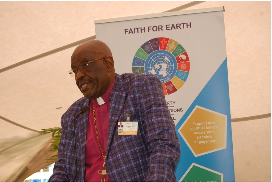 Bishop Arnold Temple, the President of the All Africa Conference of Churches, (AACC), speaks on March 11 during a faith leaders side event dubbed faith for earth at the U.N Environmental Assembly in Nairobi. (COURTESY PHOTO)